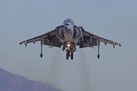 mach 1: Miramar, California,USA- October 3,2014. AV-8 Harrier jet landing at 2014 Miramar Airshow