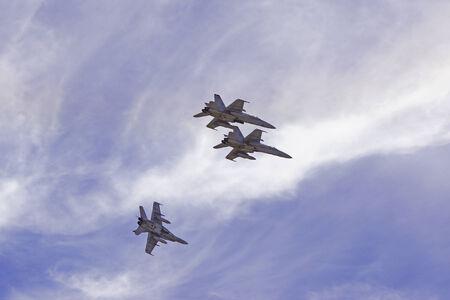 f 18: F-18 Hornet US Marines Squadron flying at 2014 Miramar Air Show