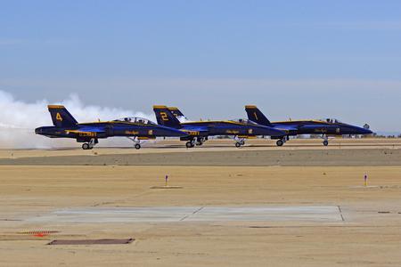 f 18: Blue Angels F-18 Hornet jets on runway