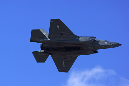 air show: F-35 Lightning  Jet Flying at 2015 Yuma Air Show Editorial