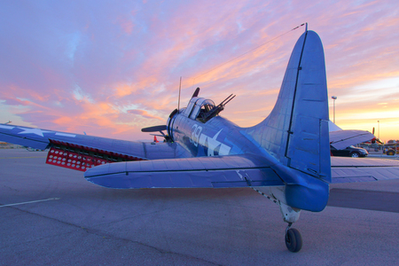 dauntless: SBD Dauntless Vintage WWII Airplane sunrise at 2015 Los Angeles Air Show