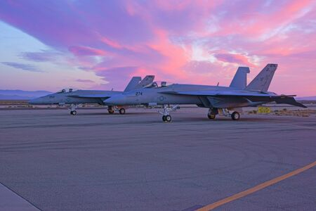 f18: F-18 Hornet Jet aircraft sunrise at 2015 Los Angeles Air Show Editorial