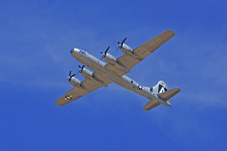wwii: B-29 Superfortress \FIFI\ WWII Bomber flying at 2015 Los Angeles Air Show