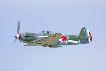 wwii: YAK Russian Vintage WWII Airplane flying at 2015 Los Angeles Air Show Editorial