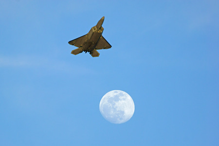 raptor: F-22 Raptor flying over the moon at 2015 Chino Air Show