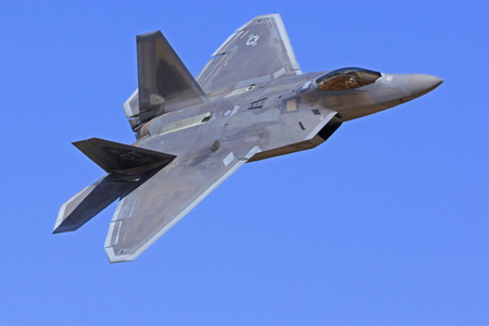 raptor: F-22 Raptor flying at 2015 Chino Air Show Editorial