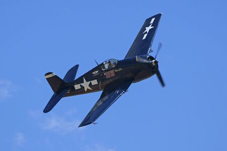 air show: Air Show Airplane Vintage WWII F6 Hellcat Editorial
