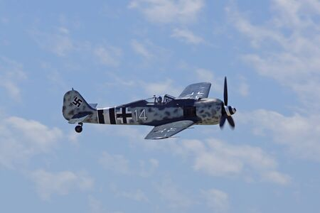 air show: German airplane Fw 109 aircraft flying at air show