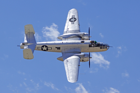wwii: AirplaneB25 Mitchell WWII bomber flying at 2015 Air Show