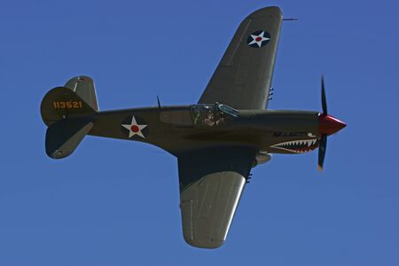 dog shark: P40 Warhawk WWII Fighter Airplane flying at Air Show