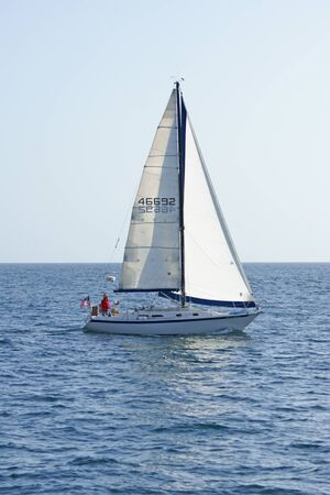pacific ocean: Sailboat on Pacific Ocean Editorial