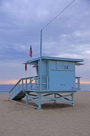 life guard: Beach Life Guard Station at dusk