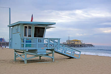 life guard: Beach Life Guard Station and Pier Stock Photo