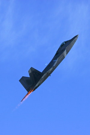 stealth: Jet Stealth fighter F-22 Raptor flying at Air Show