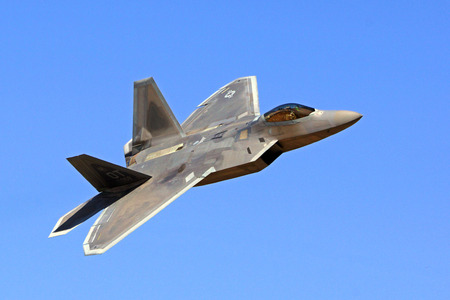stealth: F-22 Raptor Stealth jet fighter flying at Air Show