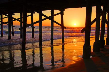 Beach Pier at Sunset in California