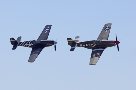 motor launch: WWII P-51 Mustang Airplanes flying at Air Show