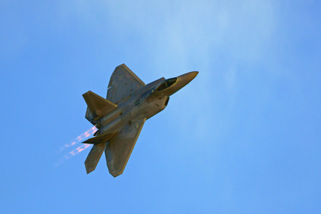 F-22 Raptor Jet aircraft flying at Air Show