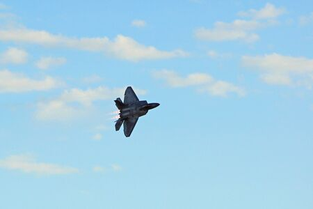 stealth: Stealth Jet Fighter flying at Air Show Editorial