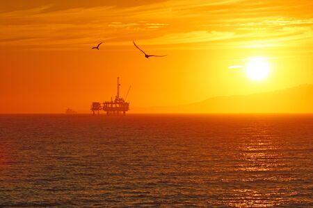 california coast: Oil rig off-shore at California coast