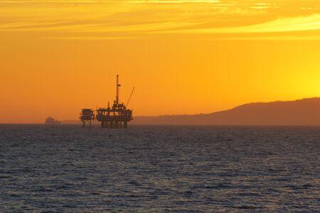 guard ship: Oil Rig Drilling off California Coast
