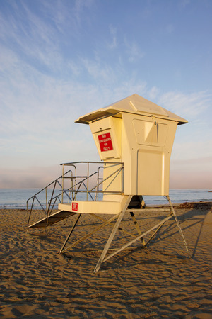 life guard: Beach Life Guard Station at California coast Stock Photo