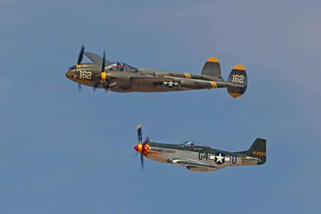 motor launch: WWII airplanes flying at 2015 Air Show in California