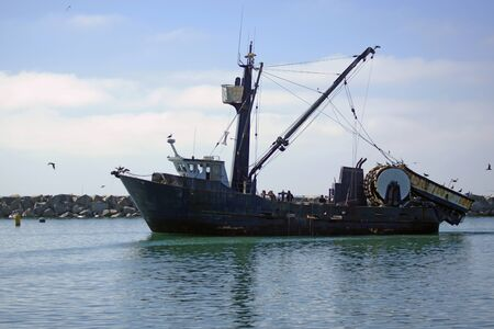commercial fishing net: Fishing boat at jetty