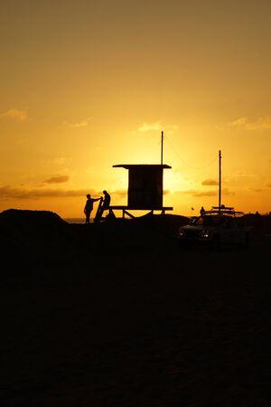 life guard: Beach life guard station silhouette