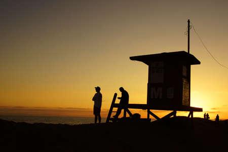 life guard: Beach Life Guard silhouette Stock Photo