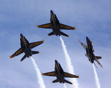 Blue Angels F-18 jet fighters flying at 2014 Air Show Stock Photo - 46586301