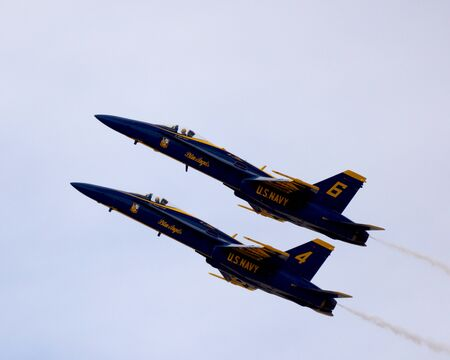 f18: Blue Angels F-18 jet fighters flying at 2014 Air Show