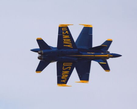 f18: Blue Angels F-18 fighter jets flying at 2014 Air Show Editorial