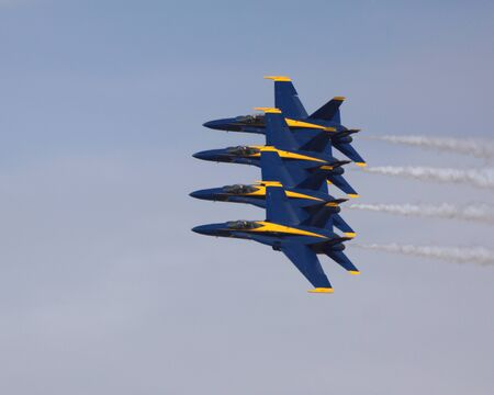motor launch: Blue Angels F-18 fighter jets flying at 2014 Air Show Editorial