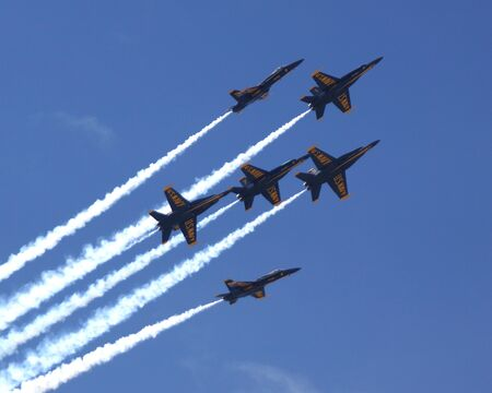 air show: Blue Angels F-18 fighter jets flying at 2014 Air Show Editorial