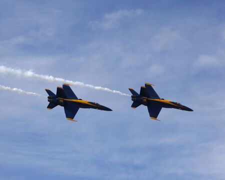 Blue Angels F-18 fighter jets flying at 2014 Air Show Editorial