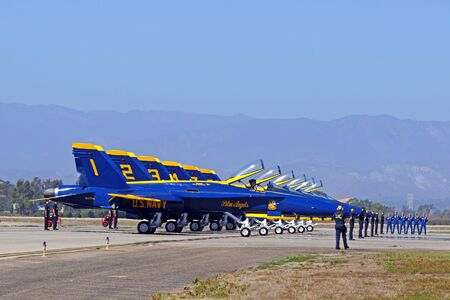 f18: Jet F-18 Hornet Blue Angels runway line-up at 2015 Air Show