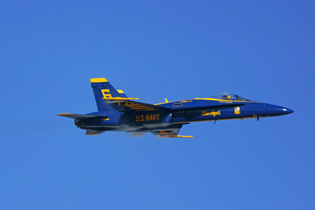 f18: Jet Blue Angels F-18 Hornet flying at Air Show