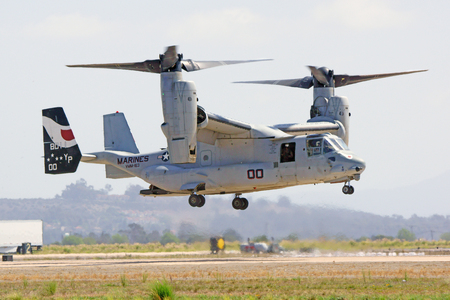 air show: Aircraft MV-22 Opsrey helicopter flying at air show
