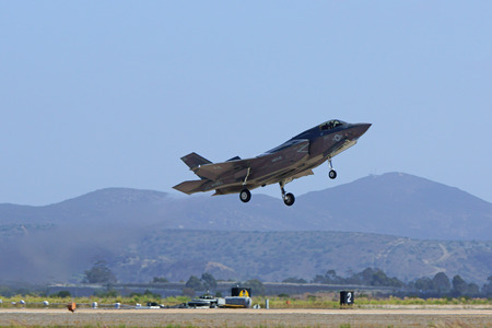 stealth: Jet F-35 Lighting Stealth airplane take-off Editorial
