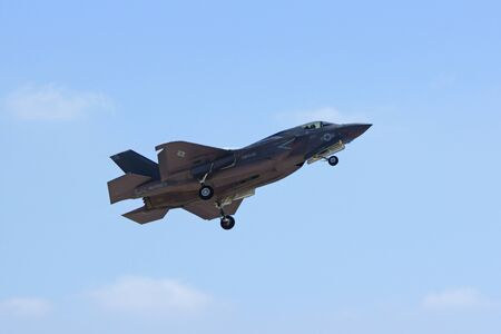 stealth: Jet stealth fighter F-25 Lightning flying at Air Show
