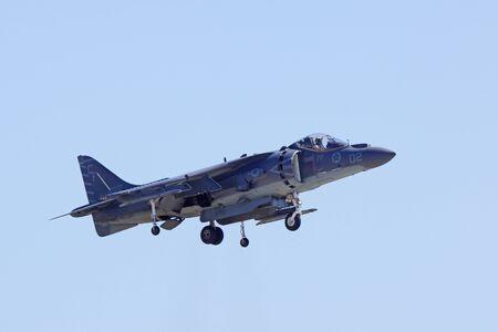 motor launch: Jet airplane AV-8 Harrier take-off at air show