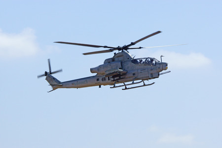 air show: Helicopter AH-1 Super Cobra flying at 2015 Air Show
