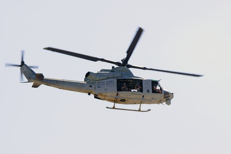 motor launch: Helicopter UH-1 Huey flying at 2015 Air Show Editorial