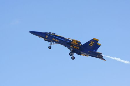 f18: Airplanes Blue Angels F-18 Hornet jet flying at 2015 Miramar Air Show Editorial