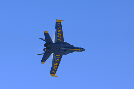 f18: Jet airplane Blue Angels F-18 Hornet flying over air show