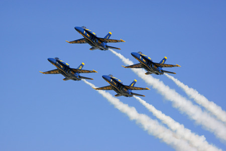 f18: Jet airplanes Blue Angels F-18 Hornet flying over air show Editorial