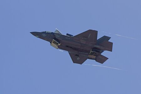 air show: Jet stealth airplane F-35 Lightning flying over air show