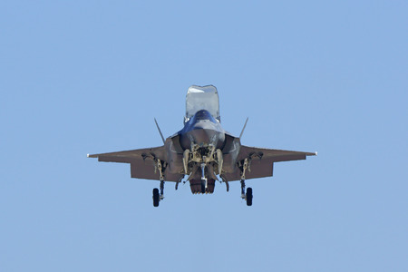 air show: Jet stealth airplane F-35 Lightning landing at air show
