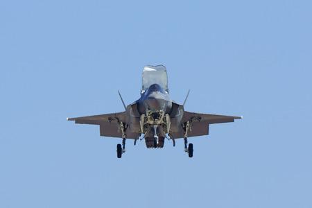 jet plane: Jet stealth airplane F-35 Lightning landing at air show